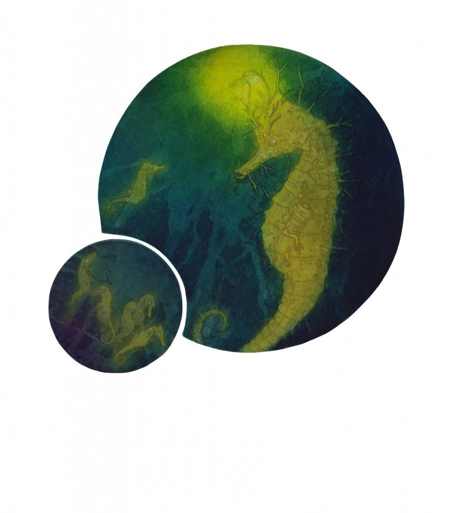 "Seeking Lumin-Essence Intaglio and chiné collé 22"" x 15"" 2016"